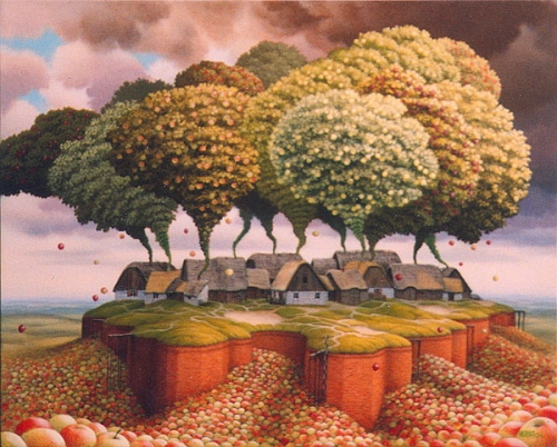 A-Jacek-Yerka-surealism-painting-of-a-village-of-houses-with-apples-trees-coming-out-of-the-chimneys