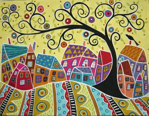 bird-ten-houses-and-a-swirl-tree-karla-gerard