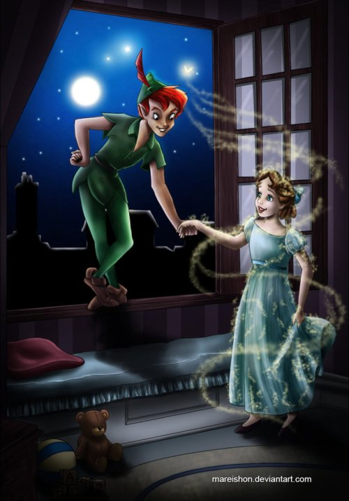 peter_pan_and_wendy_by_mareishon-d4gcng3