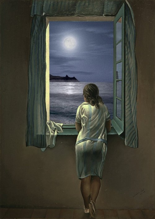 Girl-Looking-Out-Window-at-Moon-Painting-55445